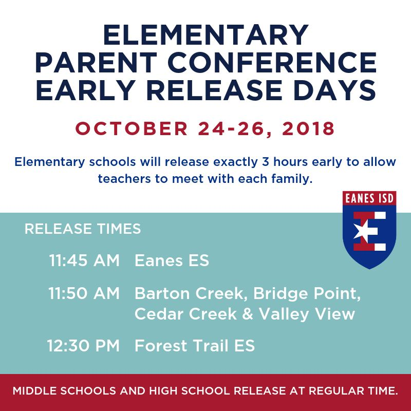 Elementary Parent Conference Early Release Days